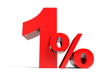 Red one percent off. Discount 1%. 3D illustration. illustration