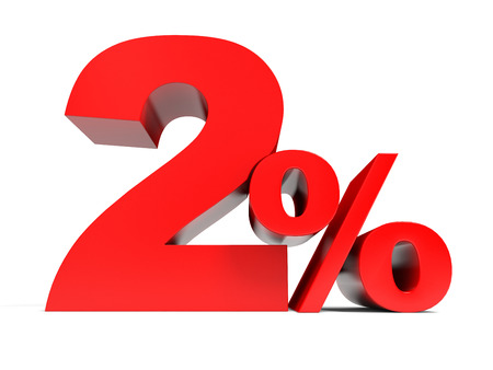 Red two percent off. Discount 2%. 3D illustration.