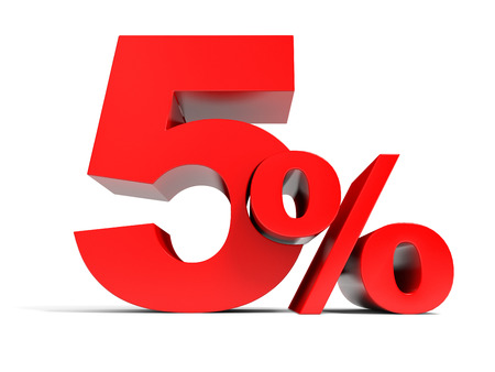 Red five percent off. Discount 5%. 3D illustration.