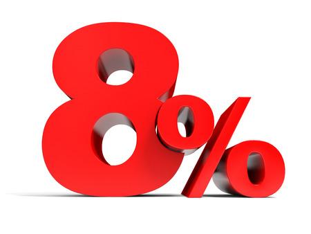 Red eight percent off. Discount 8%. 3D illustration. Standard-Bild