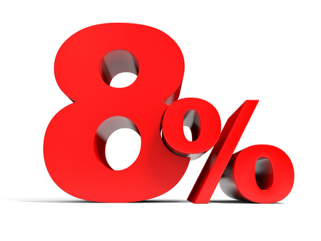 Red eight percent off. Discount 8%. 3D illustration. Stock Photo
