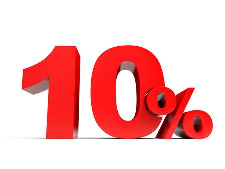 Red ten percent off. Discount 10%. 3D illustration. Banque d'images