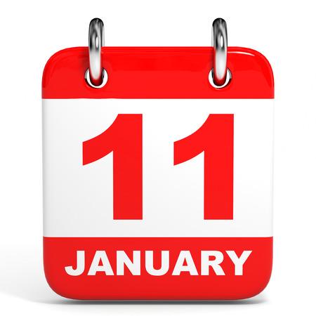 eleventh: Calendar on white background. 11 January. 3D illustration.