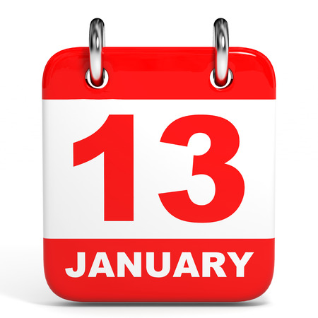 13th: Calendar on white background. 13 January. 3D illustration. Stock Photo