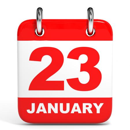 23: Calendar on white background. 23  January. 3D illustration.