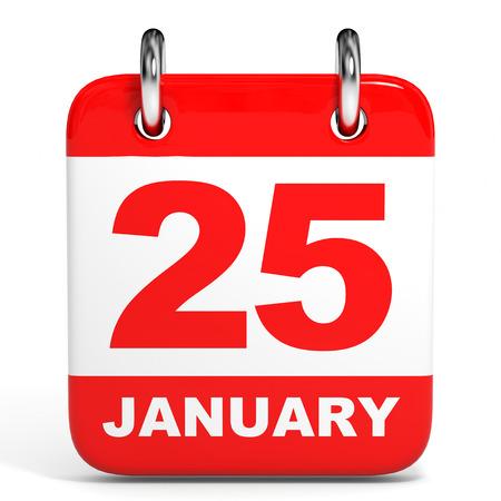 twenty fifth: Calendar on white background. 25 January. 3D illustration.
