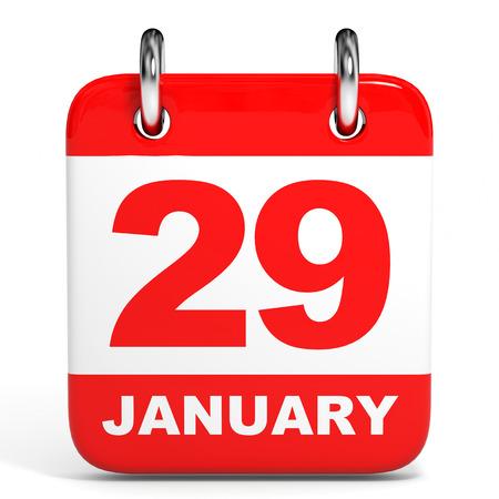 twenty ninth: Calendar on white background. 29 January. 3D illustration.