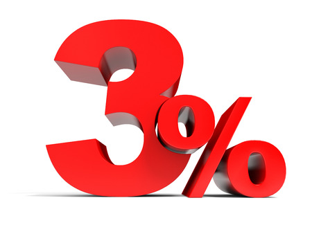 Red three percent off. Discount 3%. 3D illustration. Stock Photo