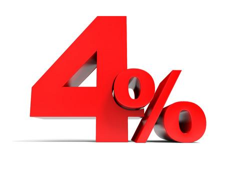 赤 4% の割引。4% を割引します。3 D イラスト。 写真素材