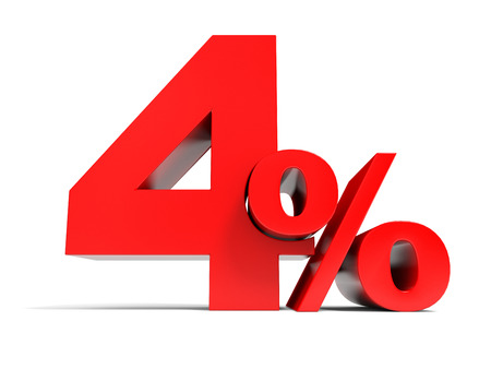 Red four percent off. Discount 4%. 3D illustration.