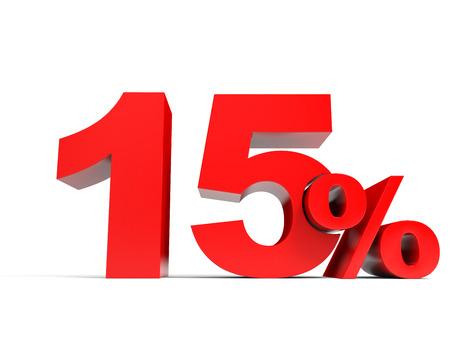 레드 15 % 끕니다. 15 % 할인. 3D 그림.