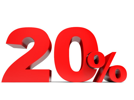 Red twenty percent off. Discount 20%. 3D illustration. 版權商用圖片