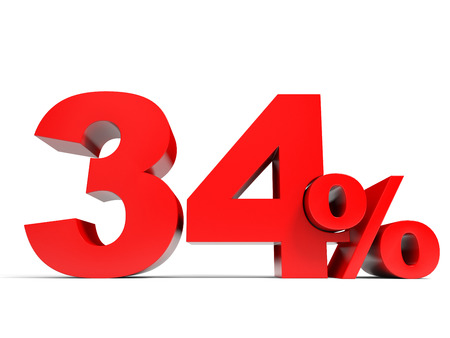price hit: Red thirty four percent off. Discount 34%. 3D illustration.