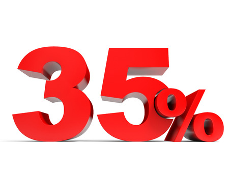 Red thirty five percent off. Discount 35%. 3D illustration.