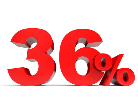36 6: Red thirty six percent off. Discount 36%. 3D illustration.
