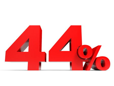 Red forty four percent off. Discount 44%. 3D illustration.