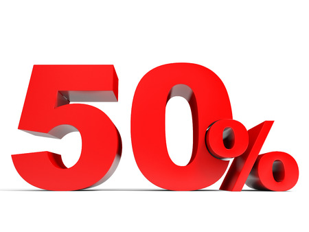 price hit: Red fifty percent off. Discount 50%. 3D illustration.