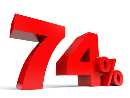 Red seventy four percent off. Discount 74%. 3D illustration. illustration