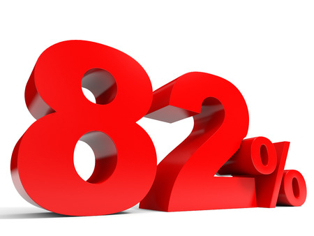 eighty: Red eighty two percent off. Discount 82%. 3D illustration.