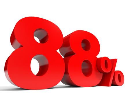 price hit: Red eighty eight percent off. Discount 88%.3D illustration.