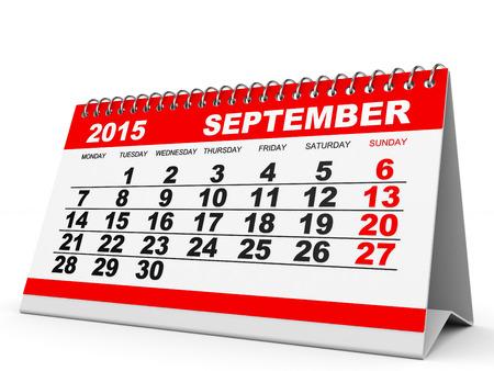 calendar september: Calendar September 2015 on white background. 3D illustration. Stock Photo