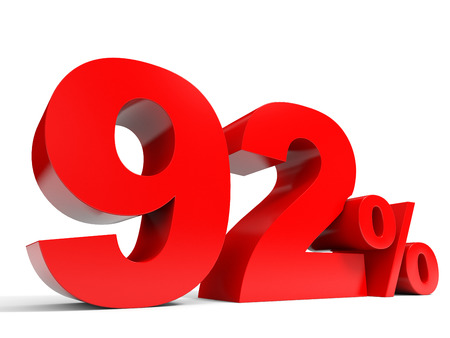 ninety: Red ninety two percent off. Discount 92%. 3D illustration.