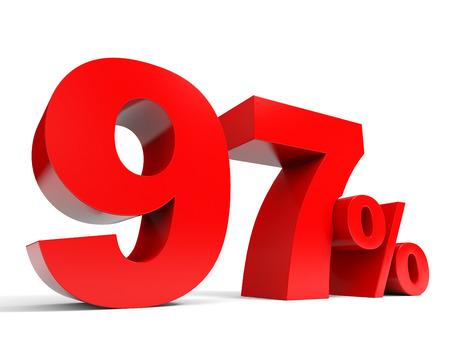 Red ninety seven percent off. Discount 97%. 3D illustration. Standard-Bild