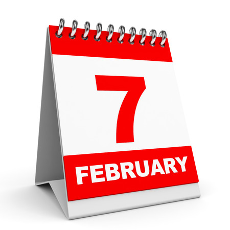 Calendar on white background. 7 February. 3D illustration. illustration