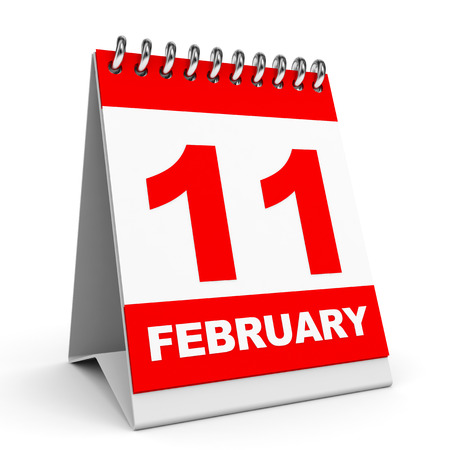 eleventh: Calendar on white background. 11 February. 3D illustration.