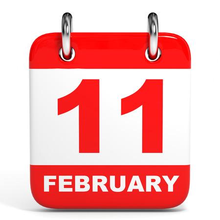 Calendar on white background. 11 February. 3D illustration.
