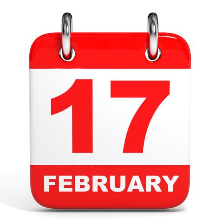 seventeen: Calendar on white background. 17 February. 3D illustration. Stock Photo