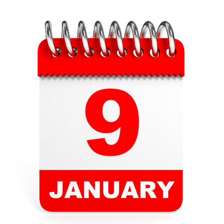 9th: Calendar on white background. 9 January. 3D illustration.