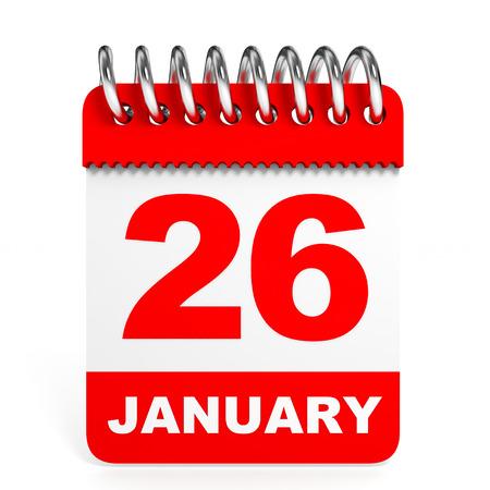 twenty six: Calendar on white background. 26 January. 3D illustration. Stock Photo