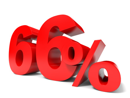 sixty: Red sixty six percent off. Discount 66%. 3D illustration. Stock Photo