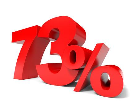Red seventy three percent off. Discount 73%. 3D illustration. illustration