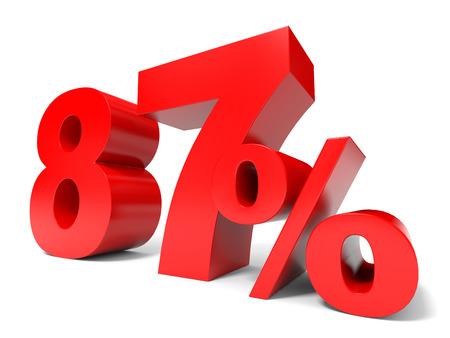 achtzig: Red siebenundachtzig Prozent aus. Discount 87% .3D Abbildung. Lizenzfreie Bilder