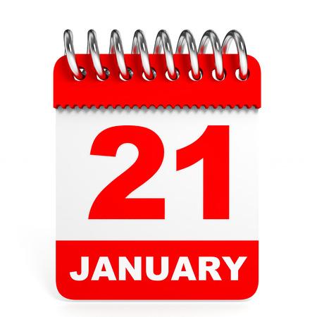 january 1st: Calendar on white background. 21 January. 3D illustration. Stock Photo