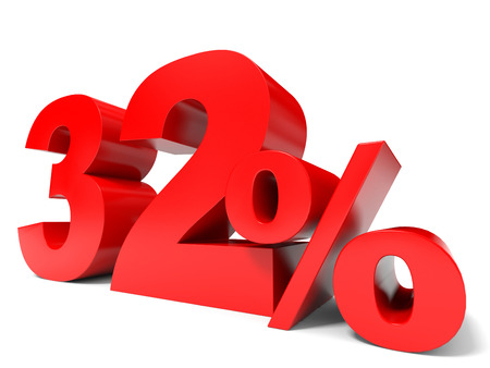32: Red thirty two percent off. Discount 32%. 3D illustration.
