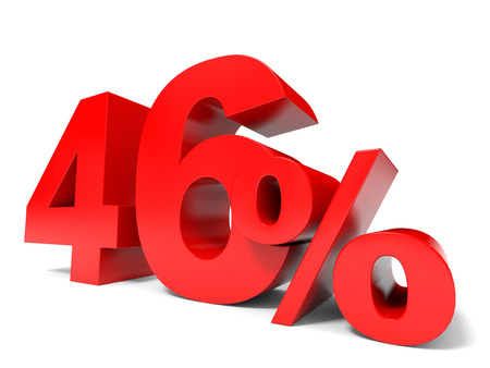 price hit: Red forty six percent off. Discount 46%. 3D illustration.