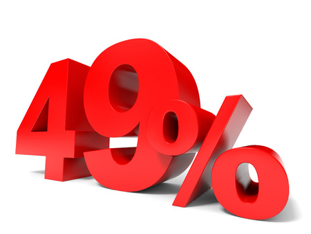 price hit: Red forty nine percent off. Discount 49%. 3D illustration.