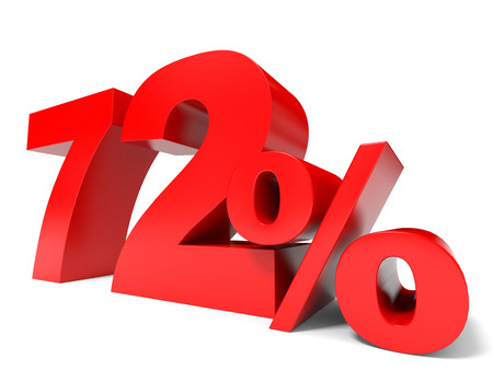 seventy two: Red seventy two percent off. Discount 72%. 3D illustration.