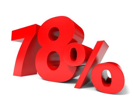 Red seventy eight percent off. Discount 78%. 3D illustration. illustration
