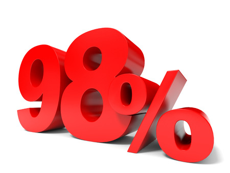 price hit: Red ninety eight percent off. Discount 98%. 3D illustration.