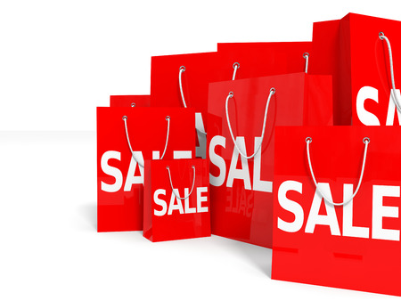 Shopping bags on white background. Sale. 3D illustration. illustration