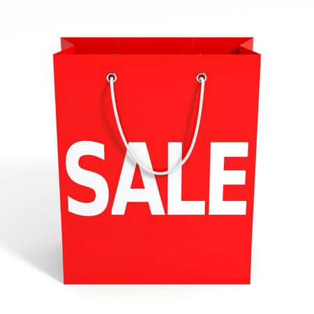 Shopping bag on white background. Sale. 3D illustration. illustration