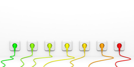 sockets: Plugs and sockets. 3D illustration. Stock Photo