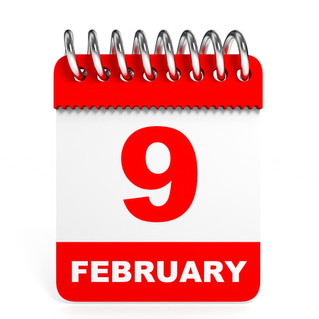 9th: Calendar on white background. 9 February. 3D illustration.