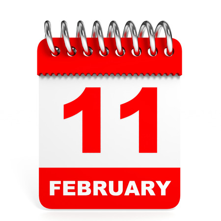number 11: Calendar on white background. 11 February. 3D illustration.