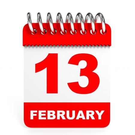 friday 13: Calendar on white background. 13 February. 3D illustration. Stock Photo
