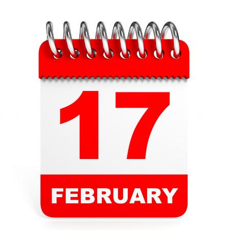 17: Calendar on white background. 17 February. 3D illustration. Stock Photo